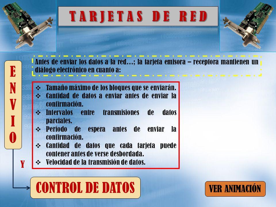 T A R J E T A S D E R E D ENVIO CONTROL DE DATOS Y VER ANIMACIÓN