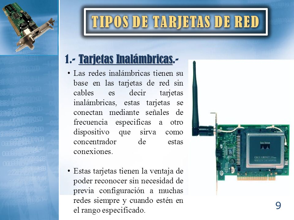 TIPOS DE TARJETAS DE RED