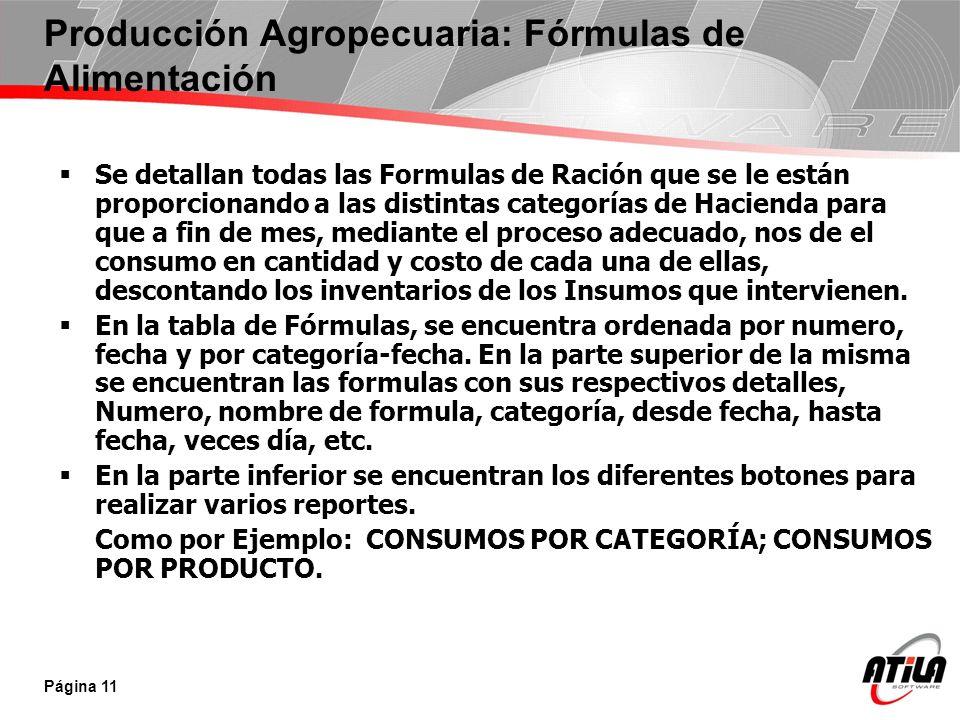 Producción Agropecuaria: Fórmulas de Alimentación