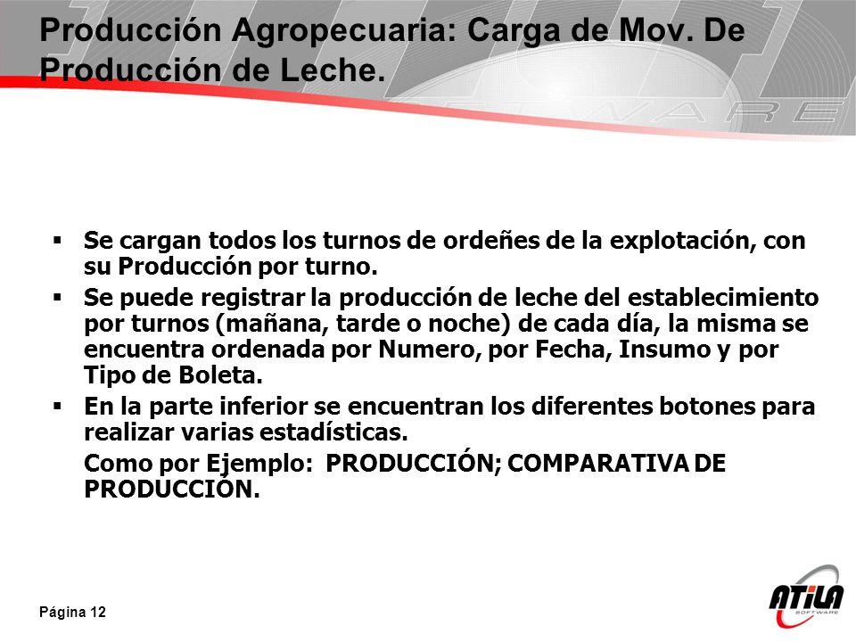 Producción Agropecuaria: Carga de Mov. De Producción de Leche.