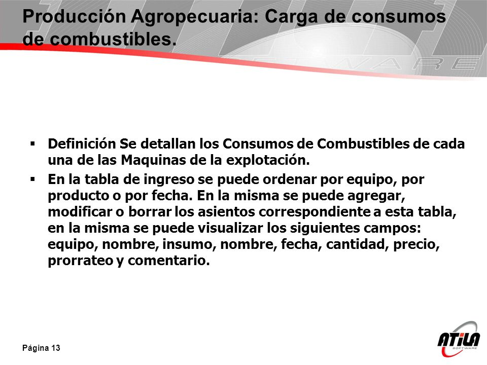 Producción Agropecuaria: Carga de consumos de combustibles.