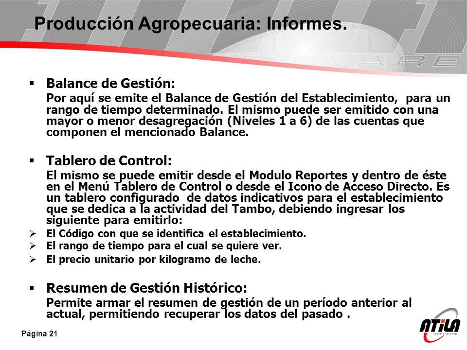 Producción Agropecuaria: Informes.