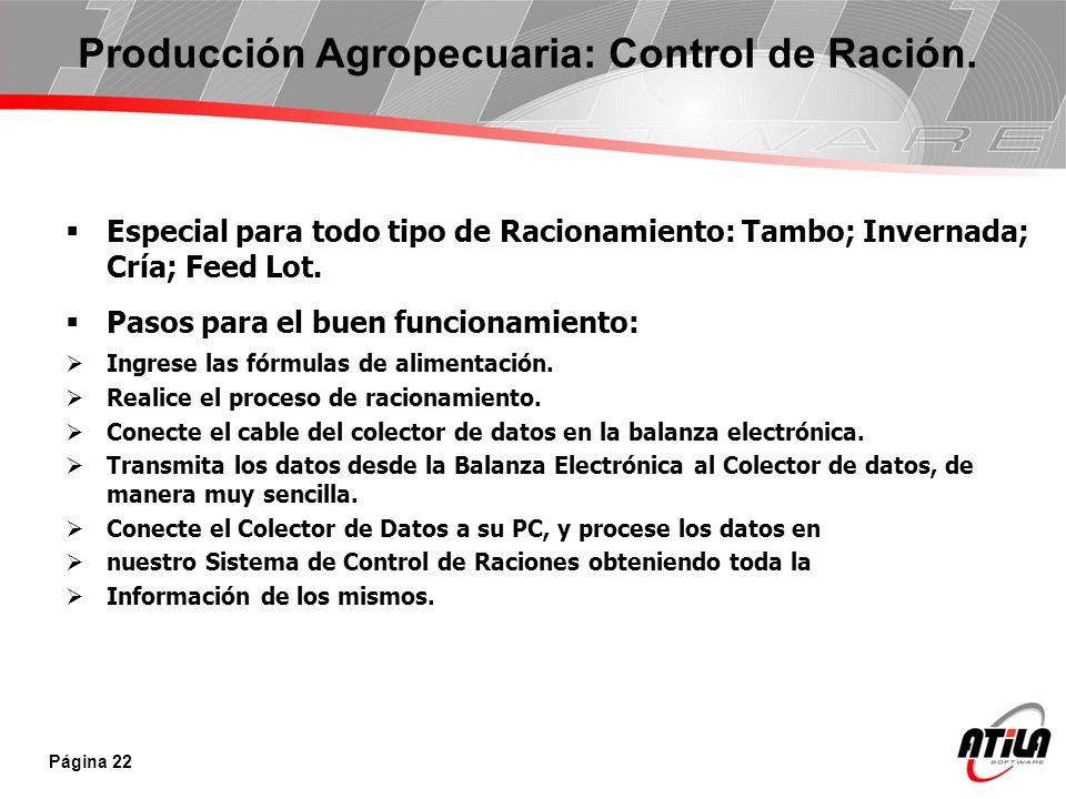 Producción Agropecuaria: Control de Ración.