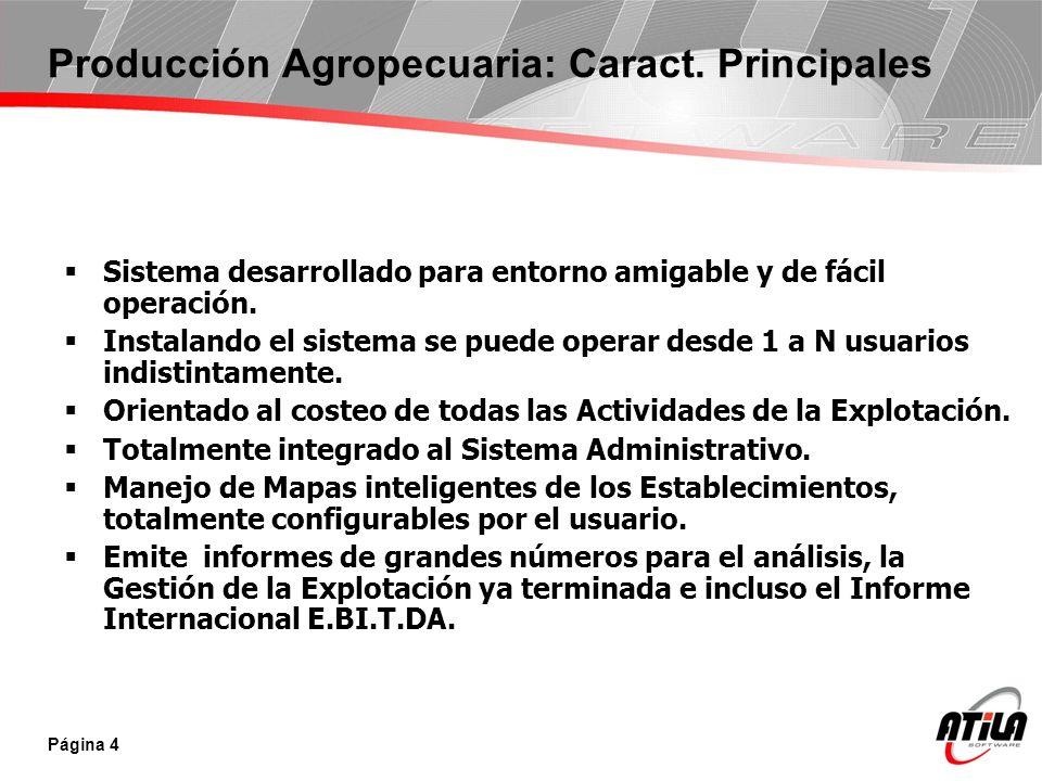 Producción Agropecuaria: Caract. Principales