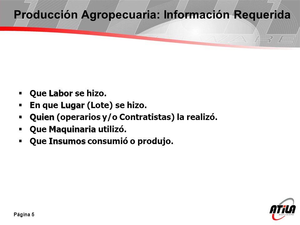 Producción Agropecuaria: Información Requerida