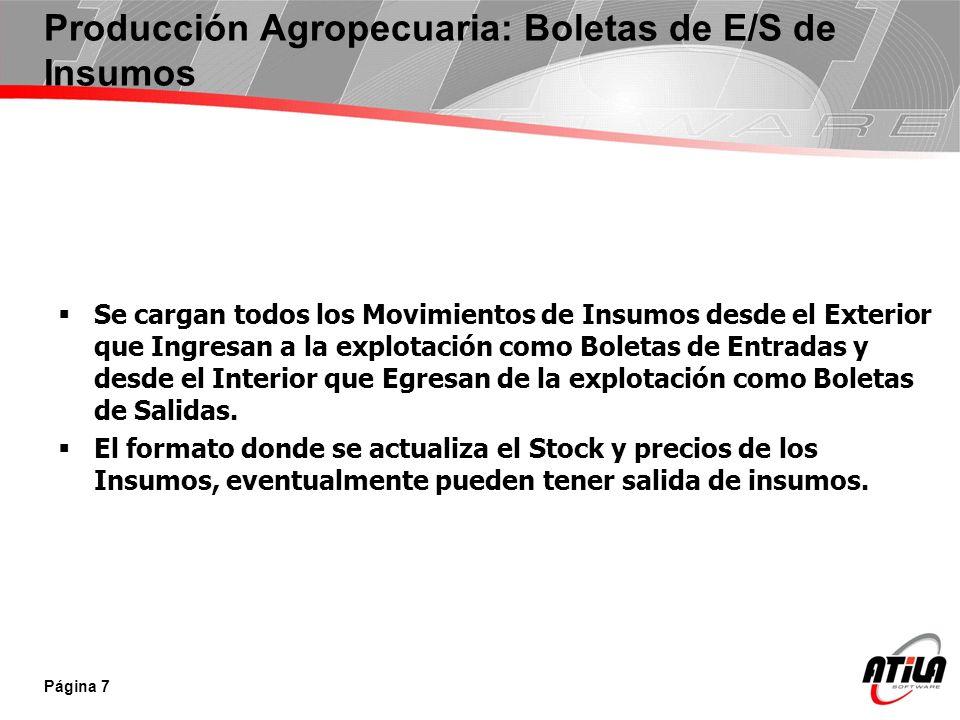Producción Agropecuaria: Boletas de E/S de Insumos