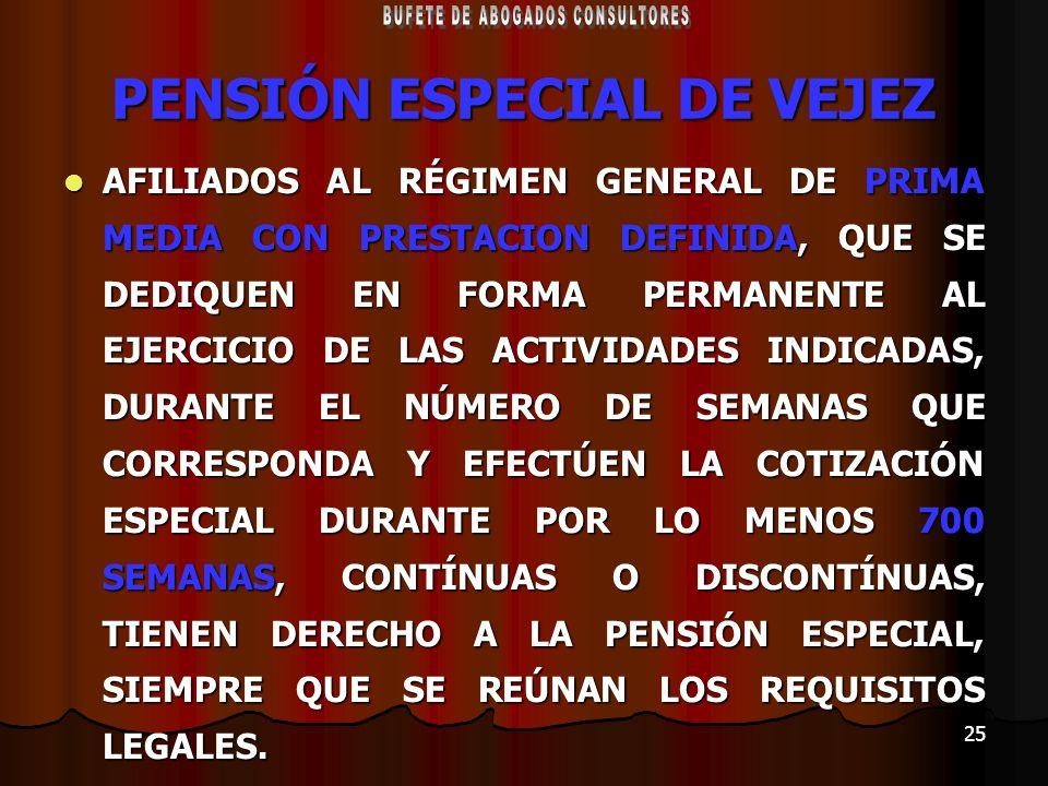 PENSIÓN ESPECIAL DE VEJEZ
