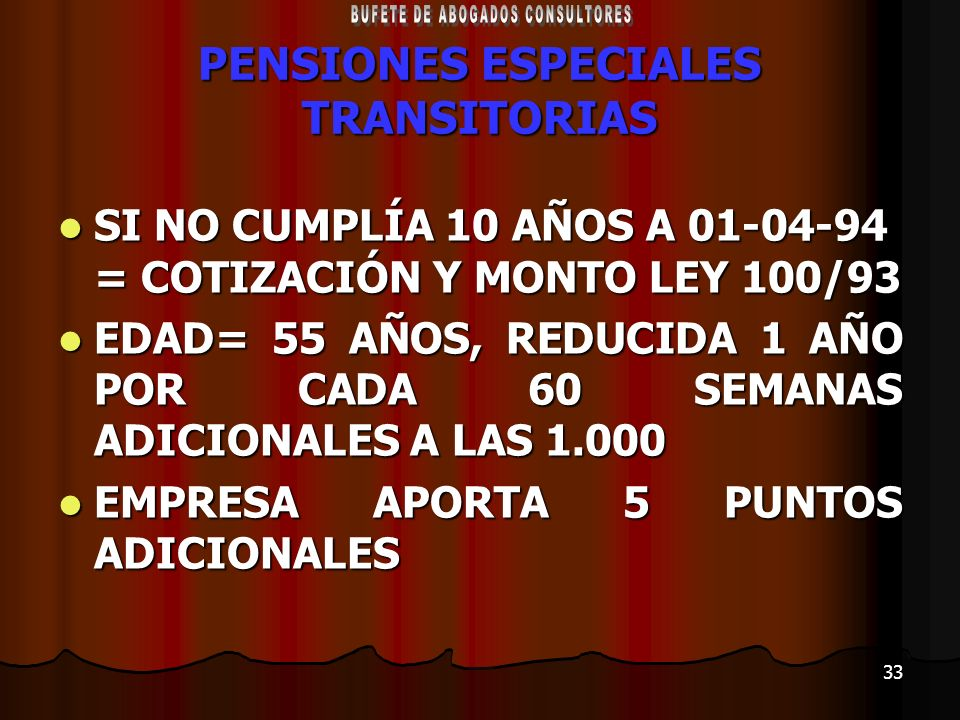 PENSIONES ESPECIALES TRANSITORIAS