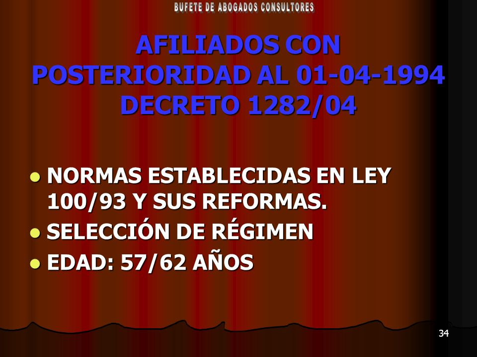AFILIADOS CON POSTERIORIDAD AL 01-04-1994 DECRETO 1282/04