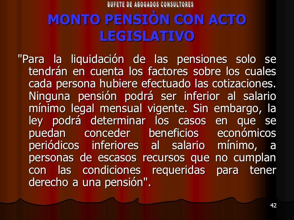 MONTO PENSIÒN CON ACTO LEGISLATIVO