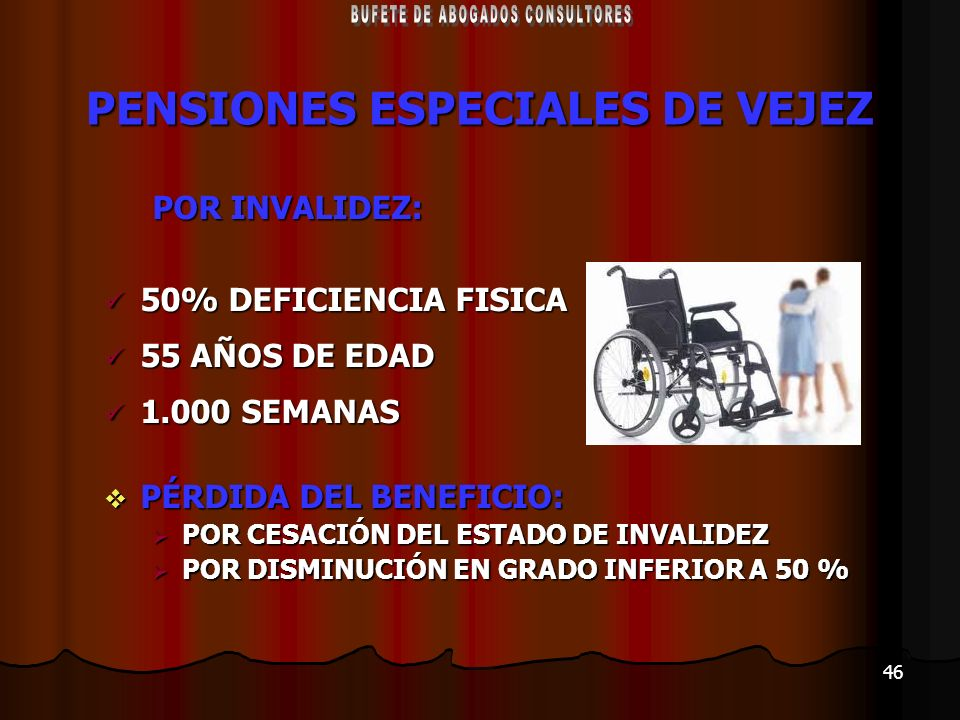 PENSIONES ESPECIALES DE VEJEZ