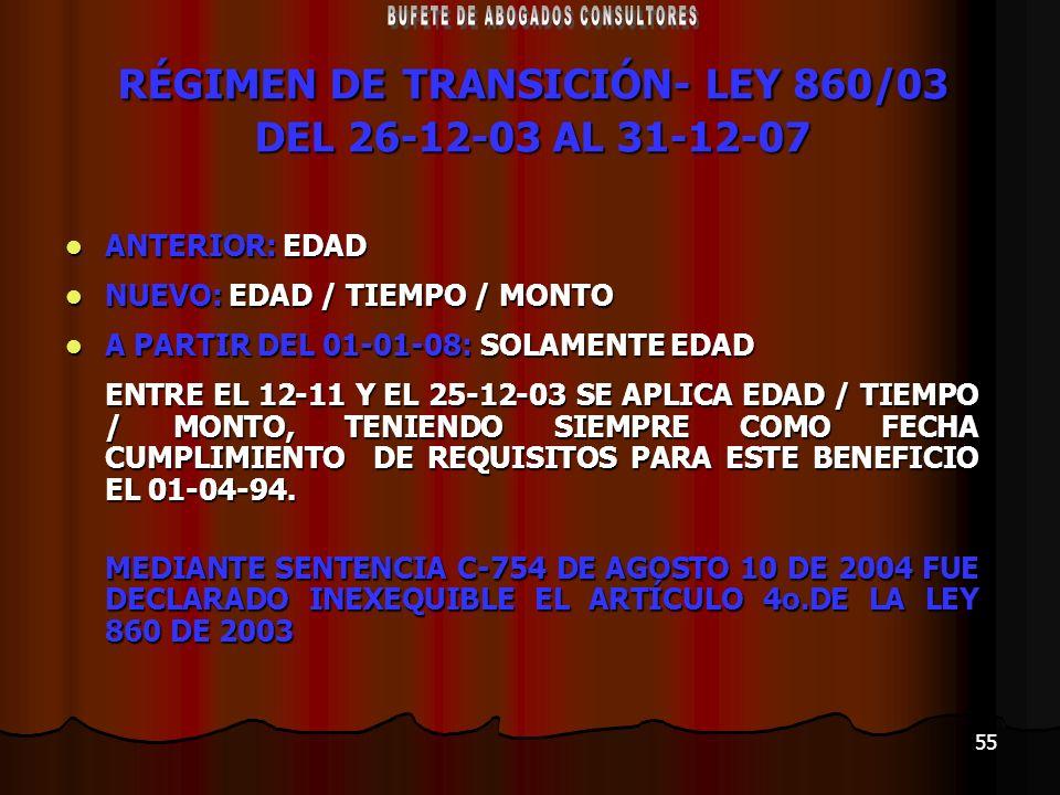 RÉGIMEN DE TRANSICIÓN- LEY 860/03 DEL 26-12-03 AL 31-12-07