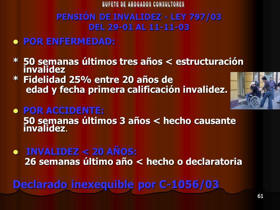 PENSIÓN DE INVALIDEZ - LEY 797/03 DEL 29-01 AL 11-11-03
