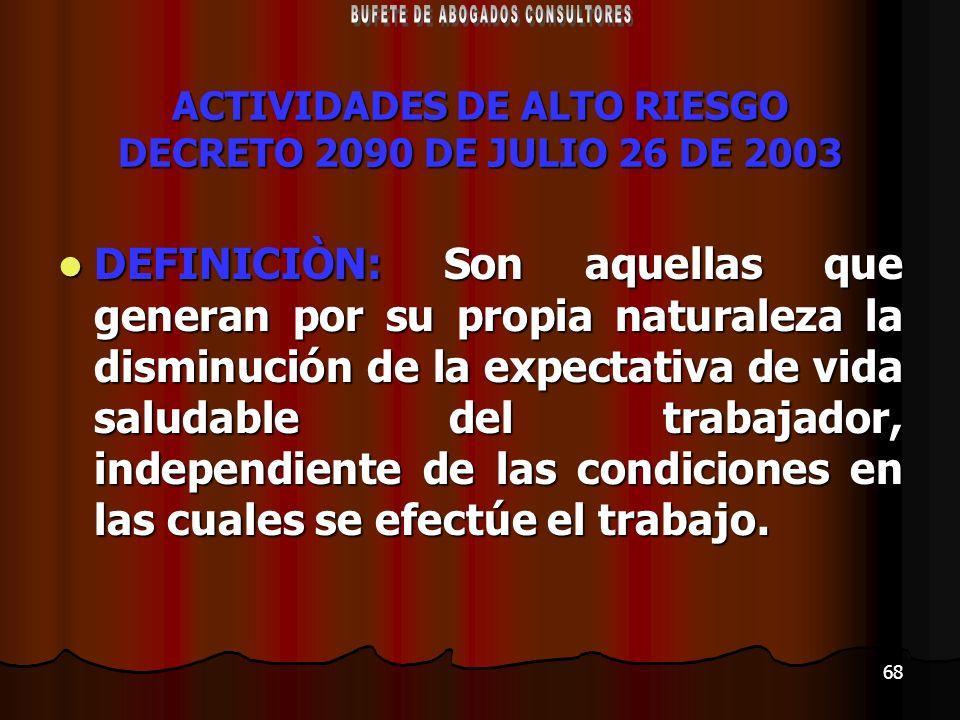 ACTIVIDADES DE ALTO RIESGO DECRETO 2090 DE JULIO 26 DE 2003
