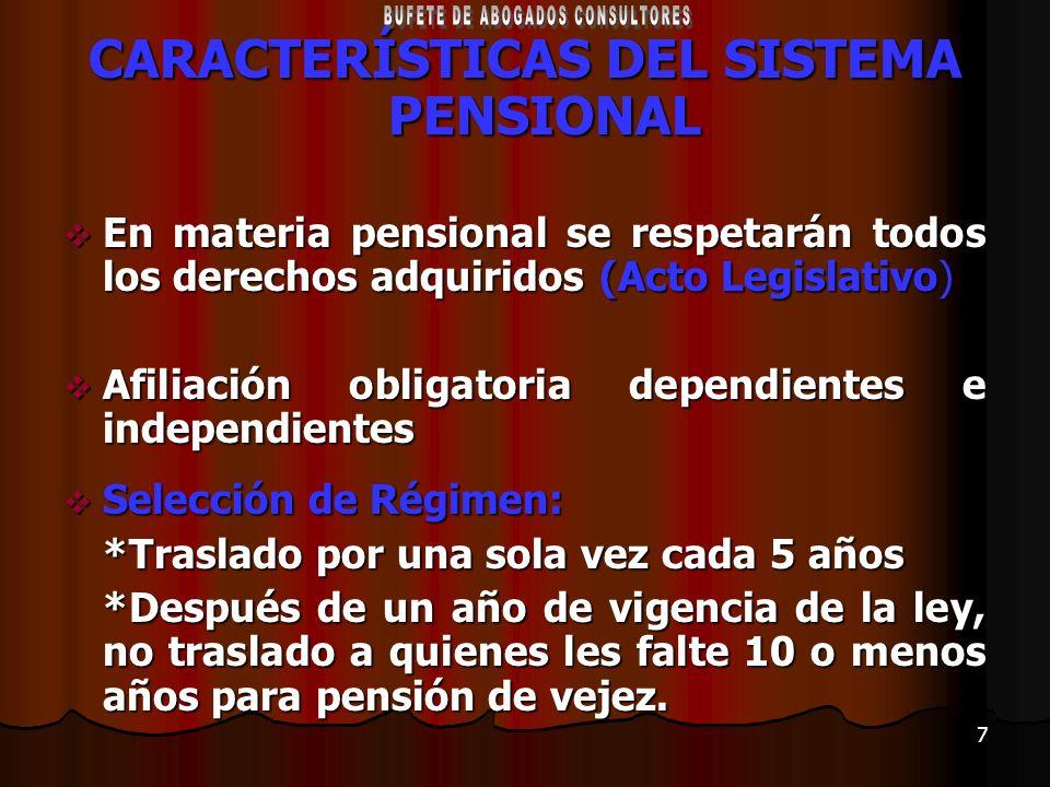 CARACTERÍSTICAS DEL SISTEMA PENSIONAL