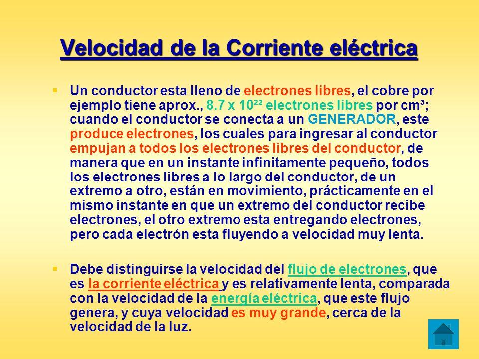 Velocidad de la Corriente eléctrica