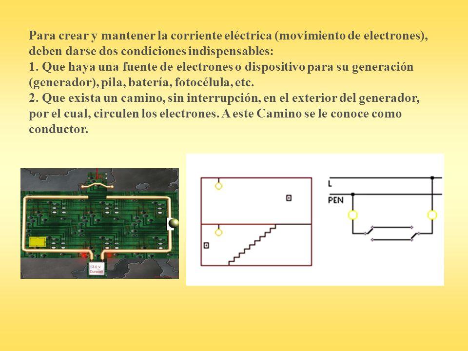 Para crear y mantener la corriente eléctrica (movimiento de electrones), deben darse dos condiciones indispensables: