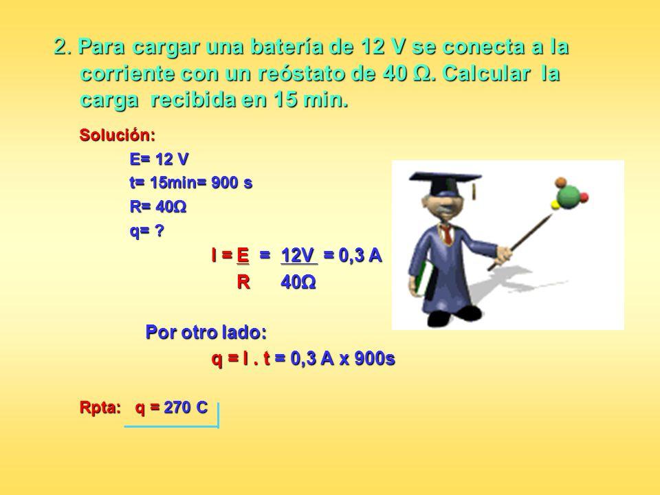 2. Para cargar una batería de 12 V se conecta a la corriente con un reóstato de 40 Ω. Calcular la carga recibida en 15 min.