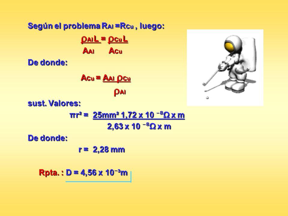 Según el problema RAl =RCu , luego: