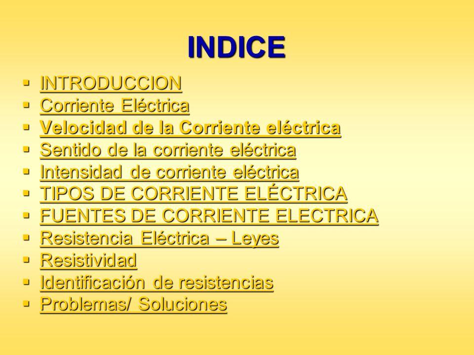 INDICE INTRODUCCION Corriente Eléctrica