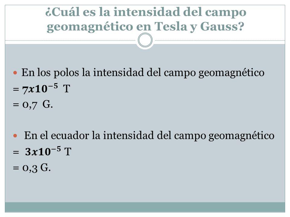 ¿Cuál es la intensidad del campo geomagnético en Tesla y Gauss