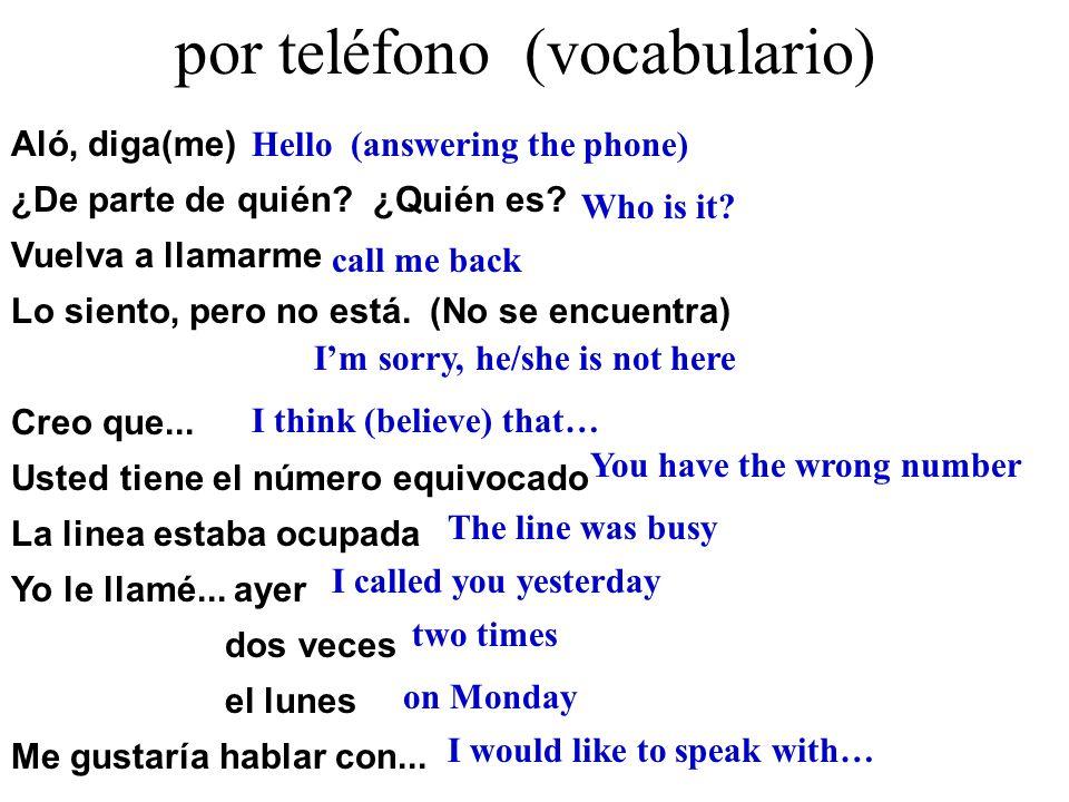 por teléfono (vocabulario)
