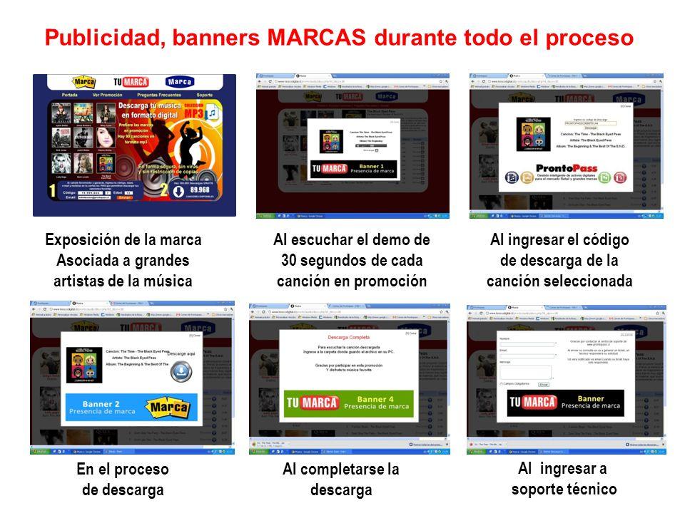 Publicidad, banners MARCAS durante todo el proceso