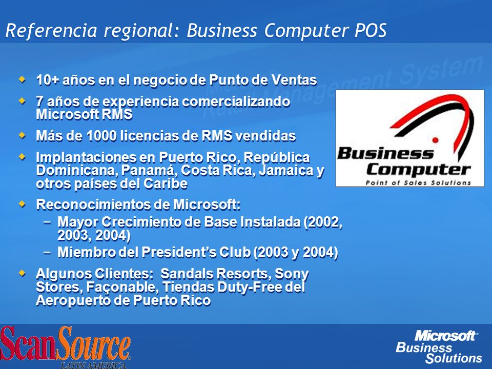 Referencia regional: Business Computer POS