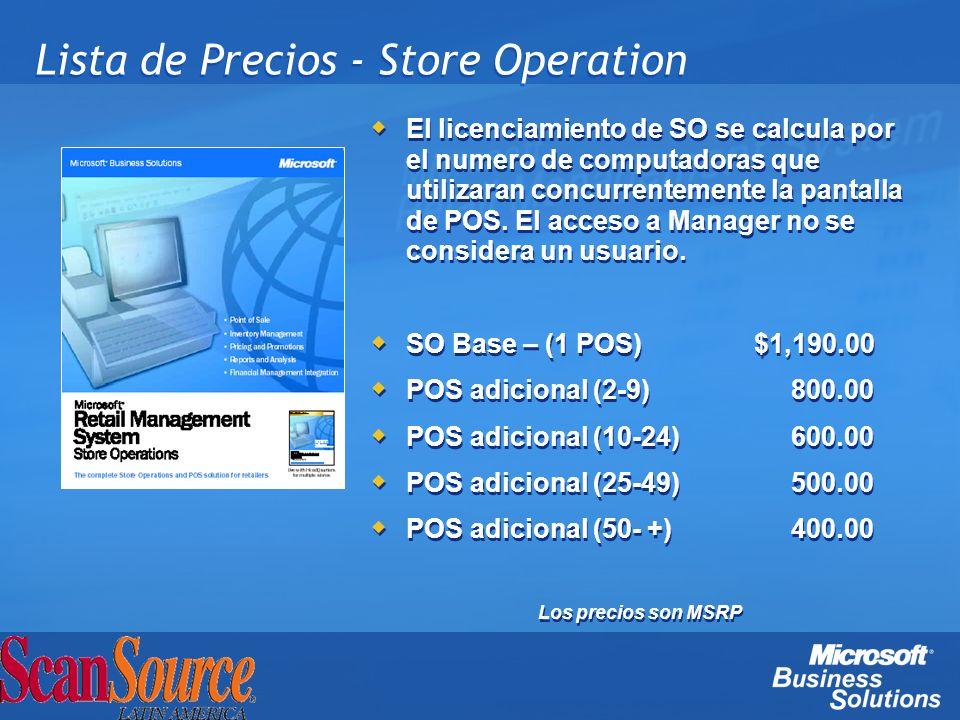 Lista de Precios - Store Operation