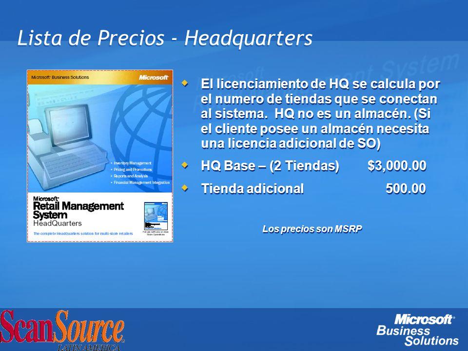 Lista de Precios - Headquarters