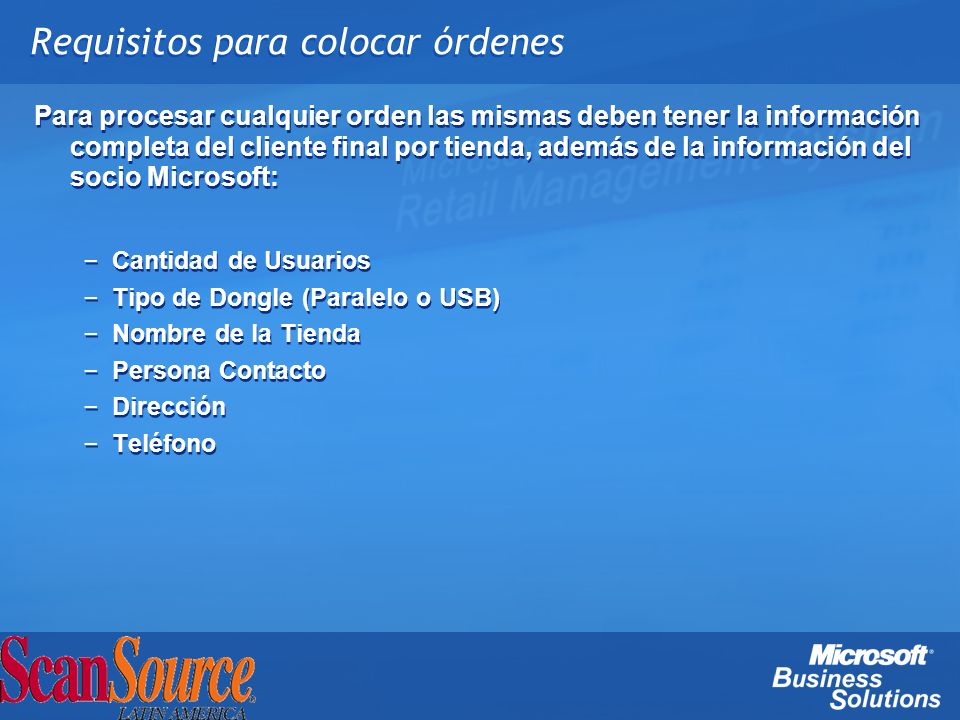 Requisitos para colocar órdenes