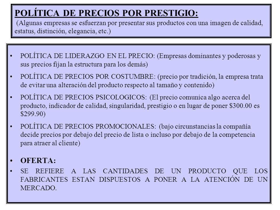 POLÍTICA DE PRECIOS POR PRESTIGIO: (Algunas empresas se esfuerzan por presentar sus productos con una imagen de calidad, estatus, distinción, elegancia, etc.)