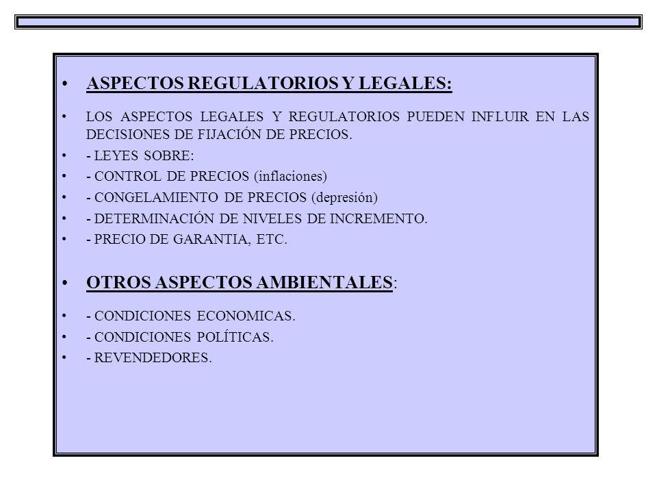 ASPECTOS REGULATORIOS Y LEGALES: