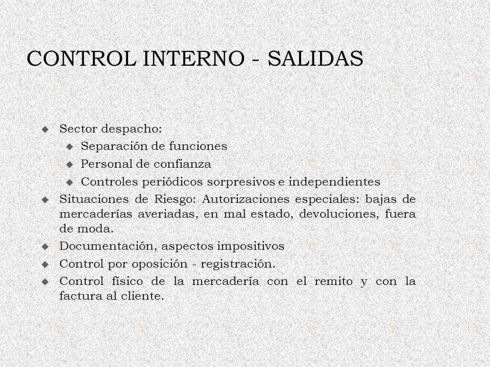 CONTROL INTERNO - SALIDAS