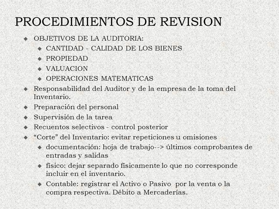 PROCEDIMIENTOS DE REVISION