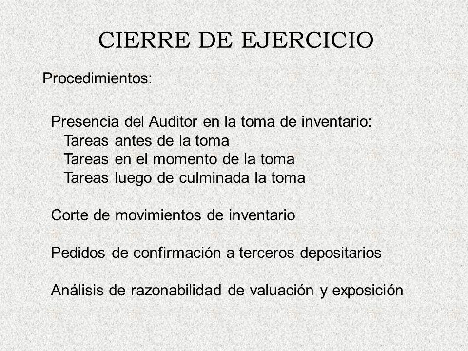 CIERRE DE EJERCICIO Procedimientos:
