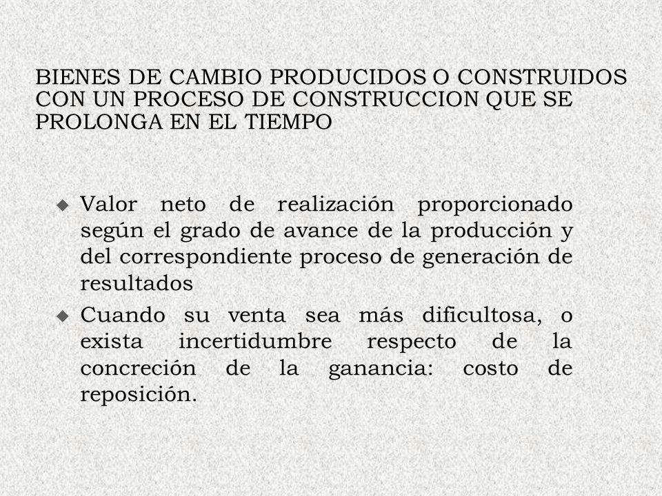 BIENES DE CAMBIO PRODUCIDOS O CONSTRUIDOS CON UN PROCESO DE CONSTRUCCION QUE SE PROLONGA EN EL TIEMPO