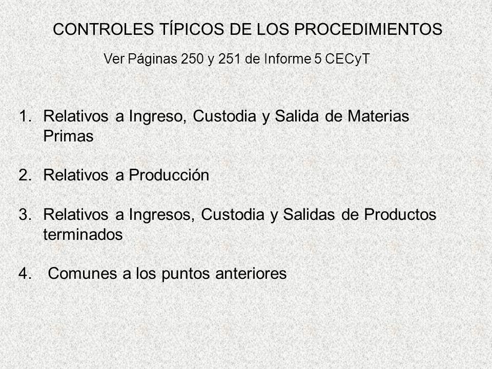 CONTROLES TÍPICOS DE LOS PROCEDIMIENTOS