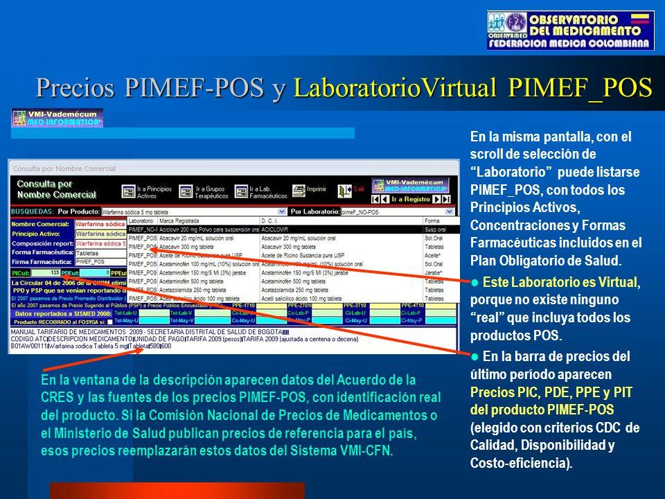 Precios PIMEF-POS y LaboratorioVirtual PIMEF_POS