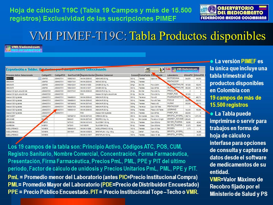 VMI PIMEF-T19C: Tabla Productos disponibles