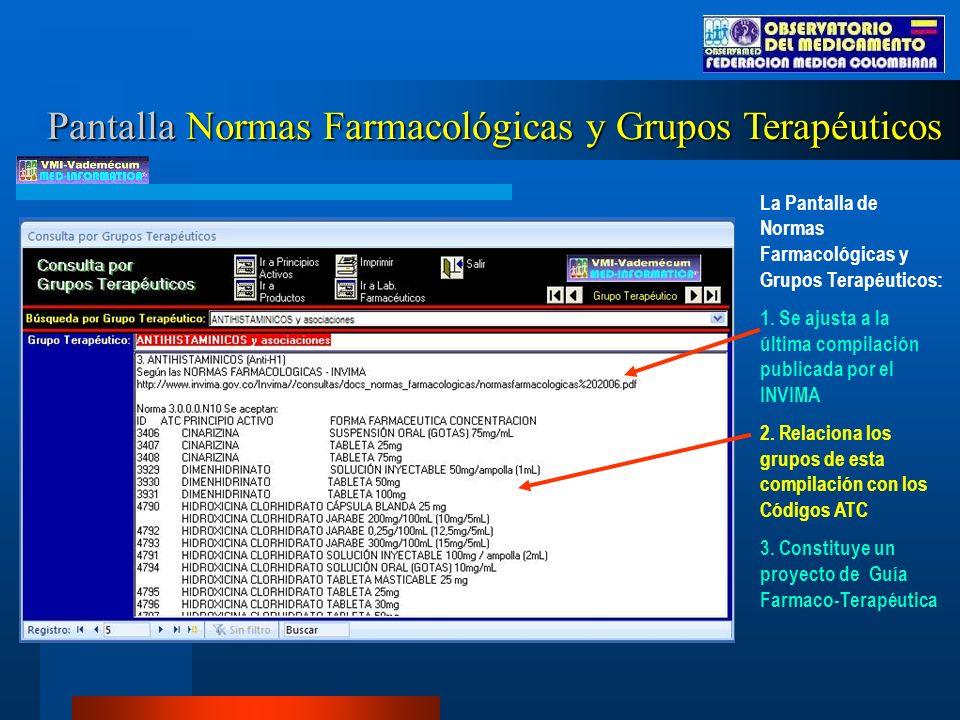 Pantalla Normas Farmacológicas y Grupos Terapéuticos