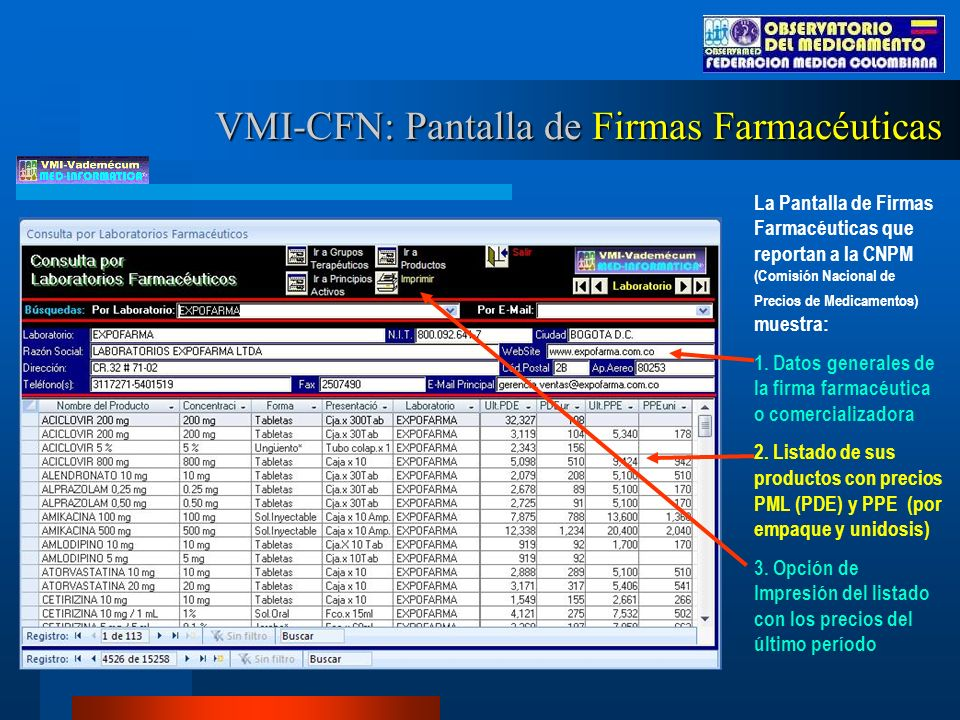 VMI-CFN: Pantalla de Firmas Farmacéuticas