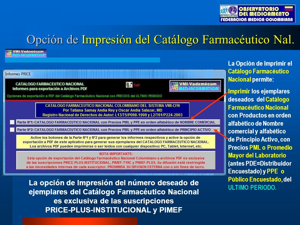 Opción de Impresión del Catálogo Farmacéutico Nal.