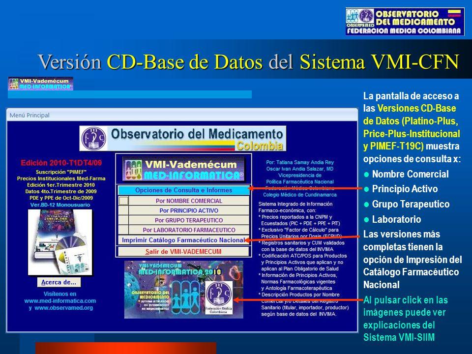 Versión CD-Base de Datos del Sistema VMI-CFN