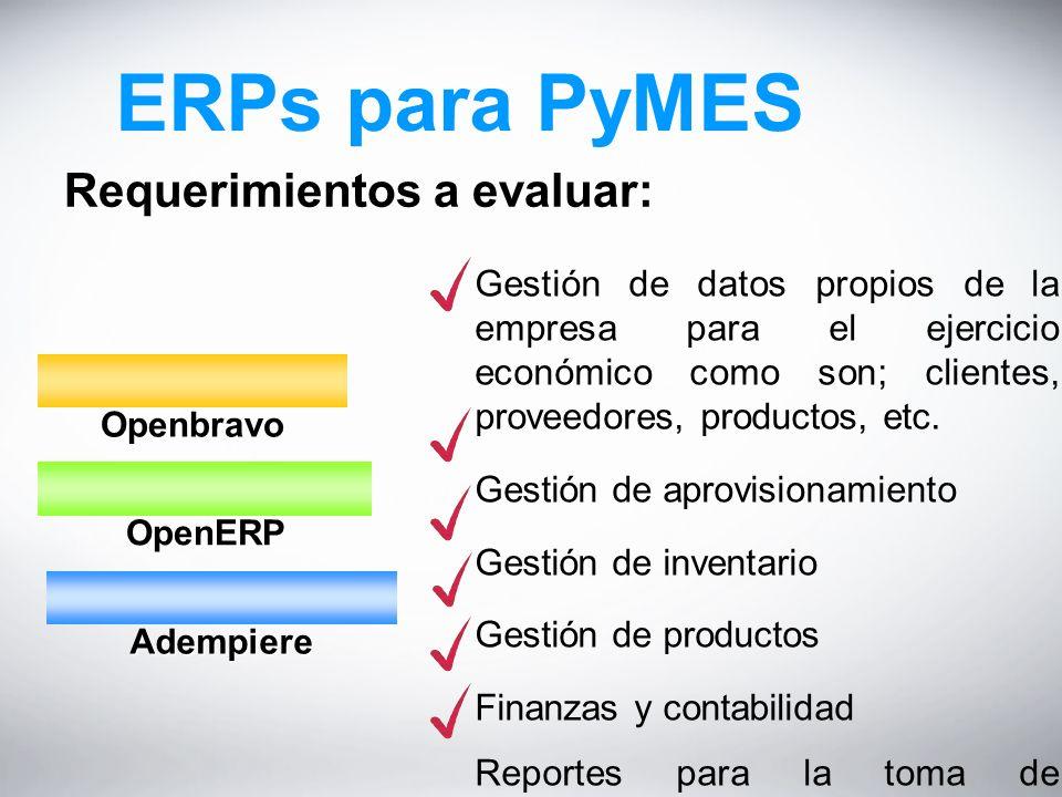 ERPs para PyMES Requerimientos a evaluar: