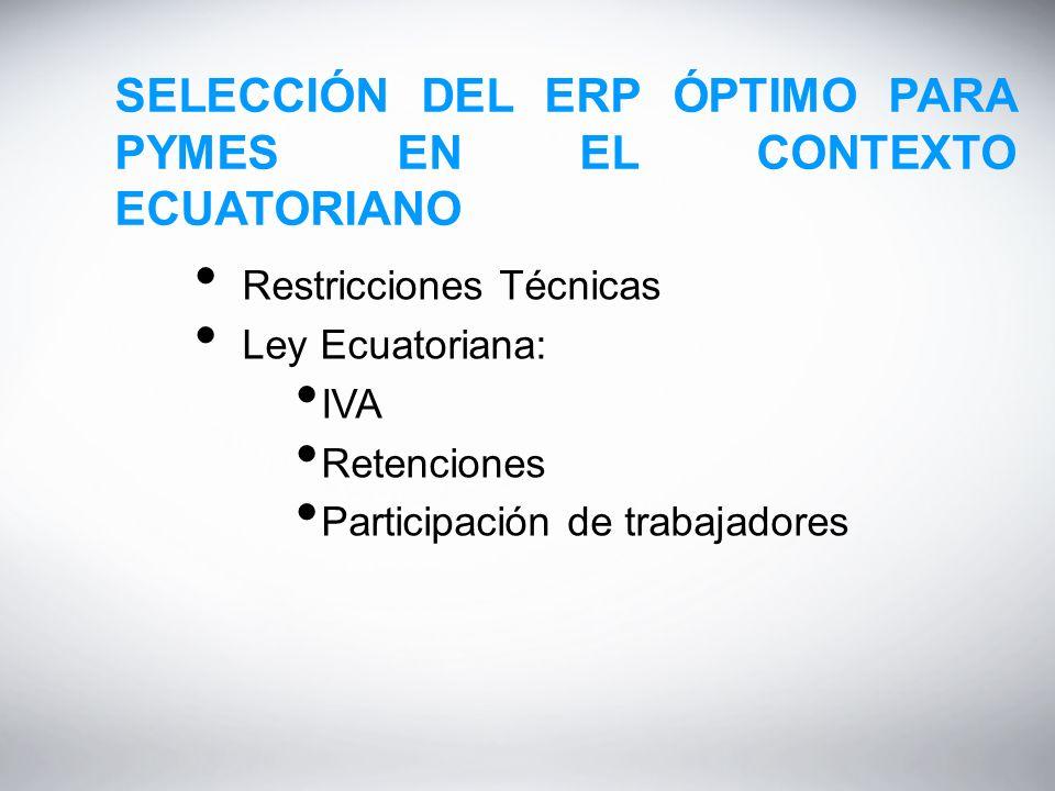 SELECCIÓN DEL ERP ÓPTIMO PARA PYMES EN EL CONTEXTO ECUATORIANO