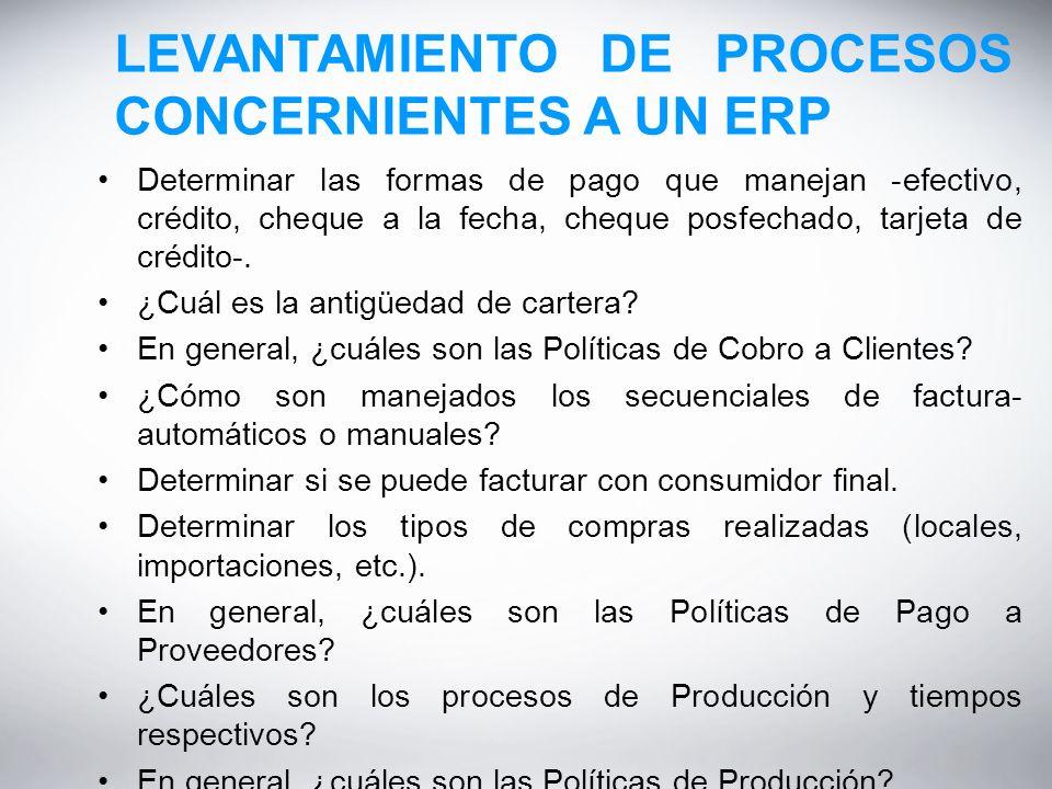LEVANTAMIENTO DE PROCESOS CONCERNIENTES A UN ERP