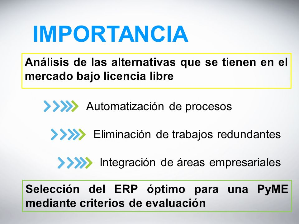 IMPORTANCIA Análisis de las alternativas que se tienen en el mercado bajo licencia libre. Automatización de procesos.