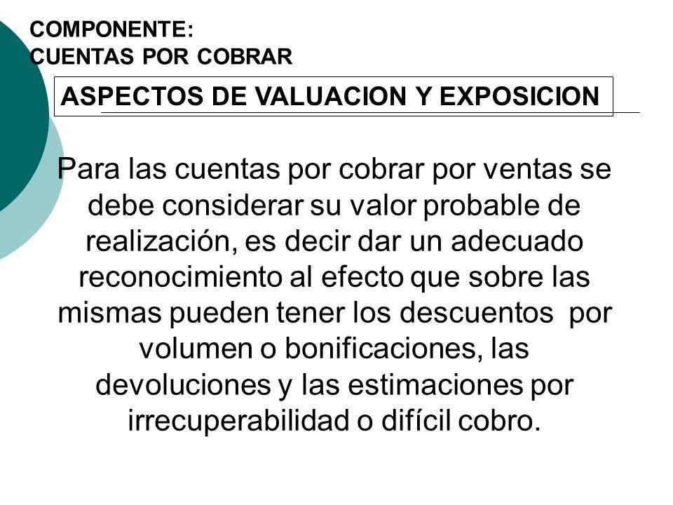 COMPONENTE: CUENTAS POR COBRAR. ASPECTOS DE VALUACION Y EXPOSICION.