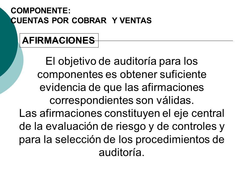 COMPONENTE: CUENTAS POR COBRAR Y VENTAS. AFIRMACIONES.